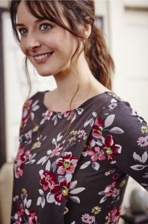 Cinderford Wrap Front Top Vintage Floral - Smoke & Wild Berry