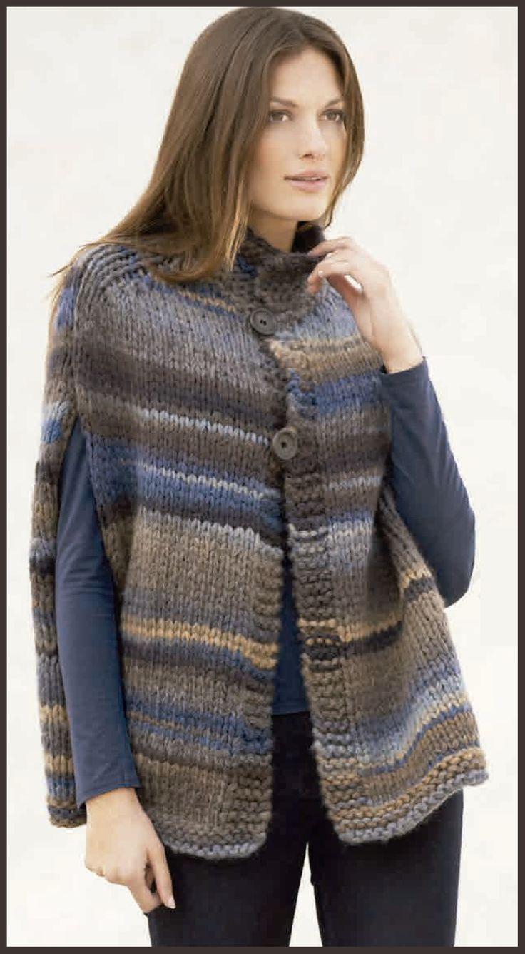 patrón gratuito de lanas katia. Capa de mujer