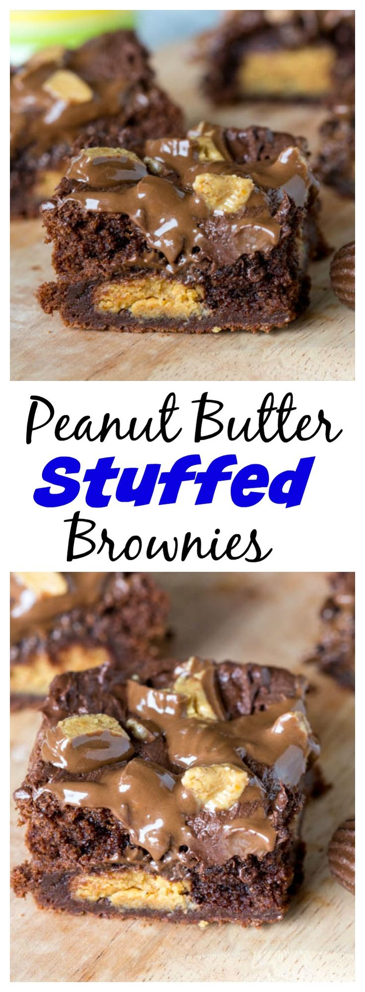 Peanut Butter Stuffed Brownies – rich, fudge brownies that are stuffed with peanut butter cups, topped with melted chocolate and more peanut butter cups! #TheBeautyAddict
