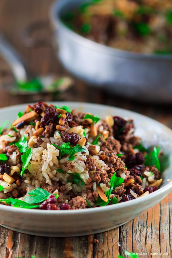 Mediterranean Hashweh Rice with Beef, Nuts and Raisins. Exceptional beef and rice recipe from The Mediterranean Dish. http://www.themediterraneandish.com/hashweh-ground-beef-and-rice-recipe/