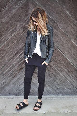 Heavy Birkenstock, black tight pants, white shirt and black leather jacket