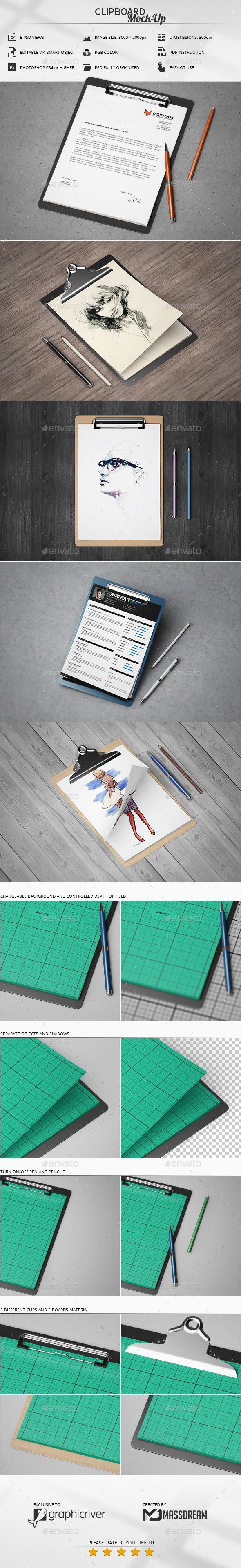 Clipboard Mock-Up by MassDream  Features 5 PSD Views / Adobe CS4 or higherHigh resolution / 3000×2000px / 300dpiEditable via smart object (A4 Page Size)PDF Instr