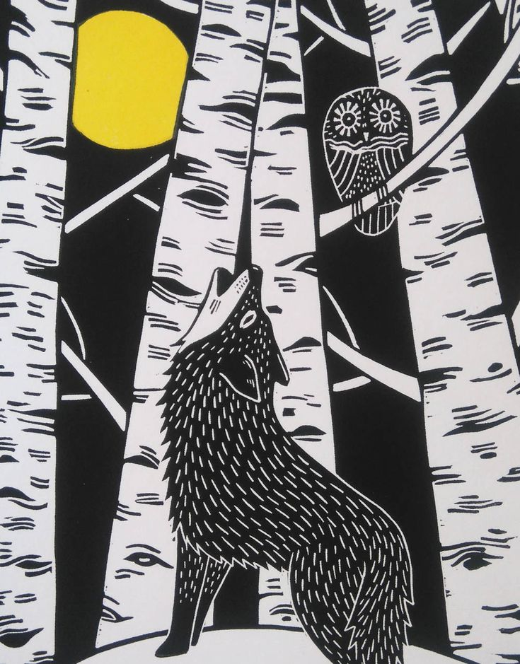 Wolf and Owl, by Kat Lendacka, Original Linocut Print, Signed Open Edition, Free Postage in UK, Hand Pulled, Printmaking, by KatLendacka on Etsy