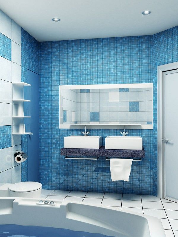 Blue Small Bathroom Design http://hative.com/small-bathroom-design-ideas-100-pictures/