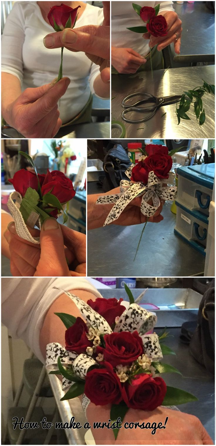 How to make your own prom wrist corsage! Step by step instructions on our blog! #prom #promflowers #diy #howto #makeyourowncorsage