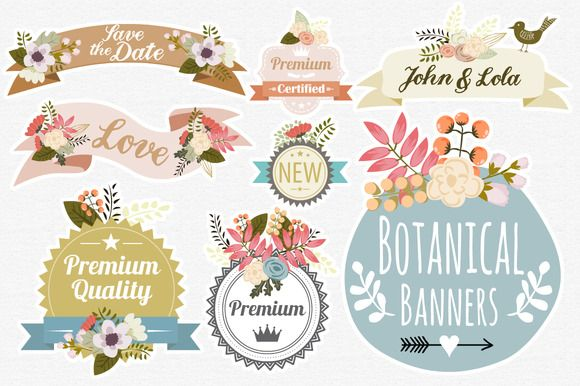 Botanical Banners by Mia Charro on Creative Market