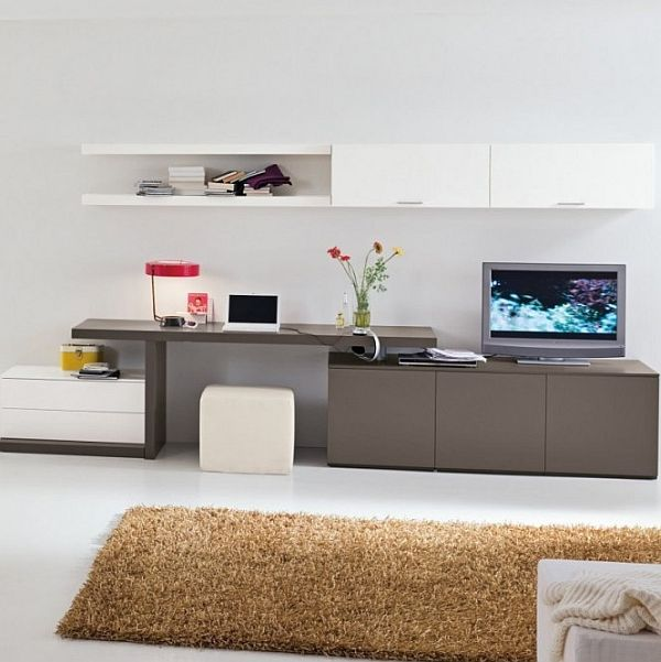 combination of TV console, work space and cabinets