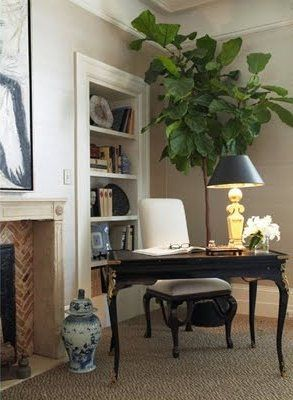 great use of corner space as a work areaDecor, Writing Desks, Ideas, Corner Desks, Bedrooms Design, Eclectic Bedrooms, Figs Trees, Home Offices, Fiddle Leaf Figs