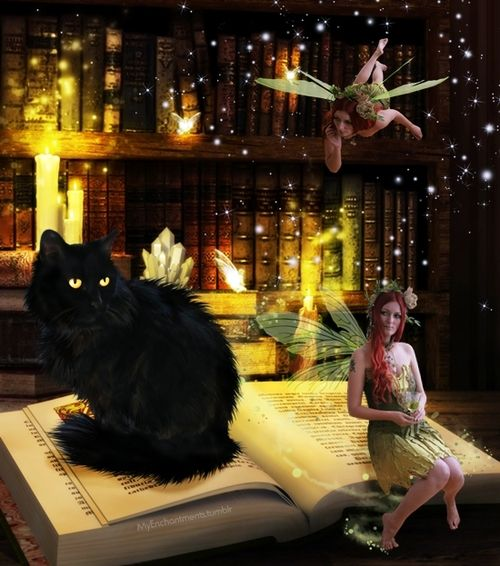 Fairies in the library. Digital art.