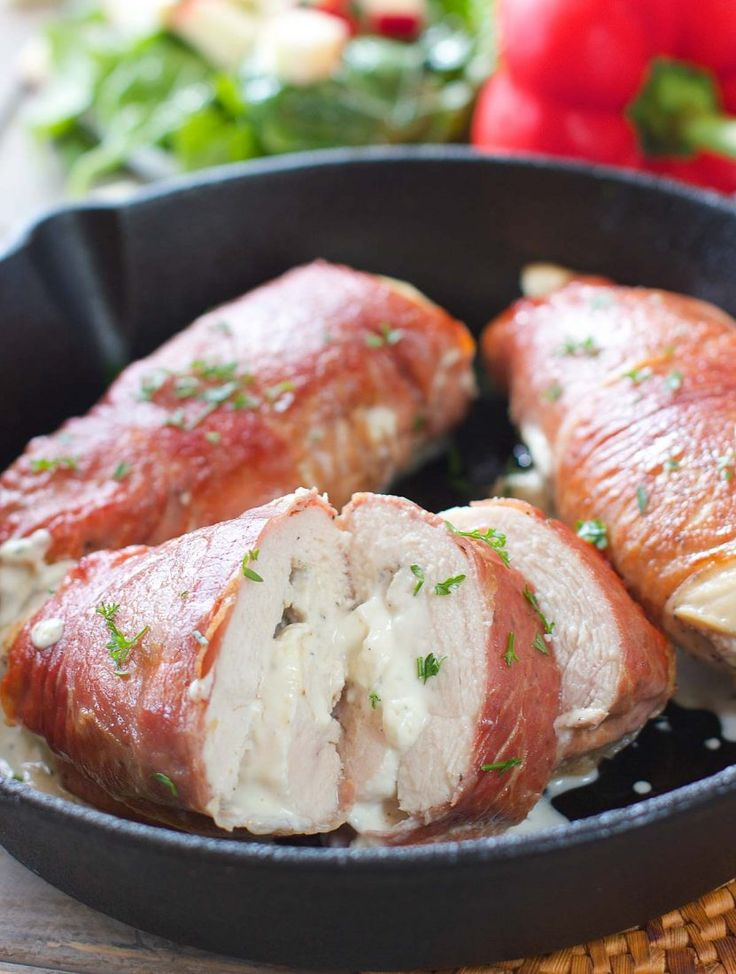 Prosciutto Wrapped Chicken Stuffed with Herb Cream Cheese