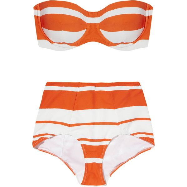 Dolce & Gabbana Striped bandeau bikini ($505) ❤ liked on Polyvore