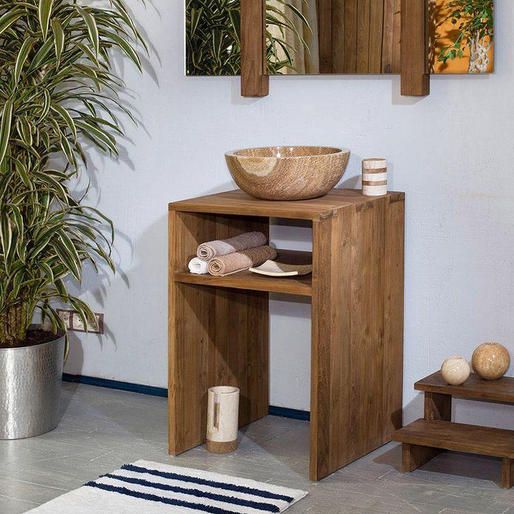 Открытая тумба из массива тика для ванной от бренда dBodhi, минималистичный дизайн, удобная полка.             Материал: Дерево.              Бренд: Teak House.              Стили: Лофт, Скандинавский и минимализм.              Цвета: Коричневый.