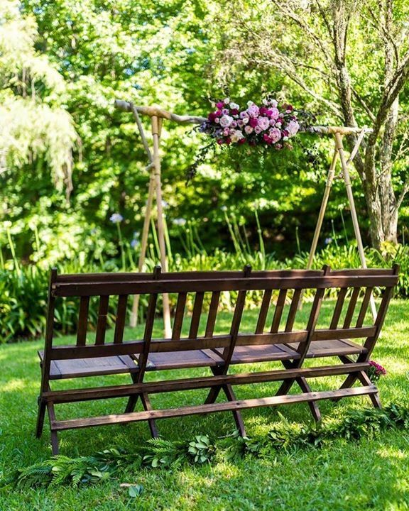 Romantic Pink Ceremony Floral Arrangement // Wedding Arbor and Furniture supplied and installed by Rustic Character Wedding Hire // Photography by Gez Xavier Mansfield Photography // Venue Firescreek Winery