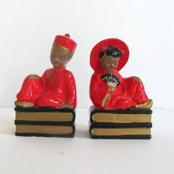red Ceramic Asian Bookends / made in Japan