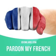 """""""Pardon my French"""" means """"excuse me for swearing"""". Example: Pardon my French, but you're an asshole. #idiom #idioms #saying #sayings #phrase #phrases #expression #expressions #english #englishlanguage #learnenglish #studyenglish #language #vocabulary #dictionary #grammar #efl #esl #tesl #tefl #toefl #ielts #toeic #englishlearning #vocab #wordoftheday #phraseoftheday"""