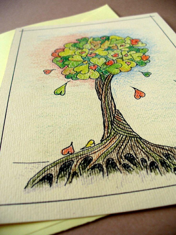 Srdíčkový strom Přání ze strukturovaného papíru vyšší gramáže s originálem autorské kresby. Barená obálka z hladkého papíru o tón tmavší. Lze použít i jako pohlednici nebo obrázek. K dispozici ouze 1ks - originál Bez textu Rozměry 15x10,5 cm