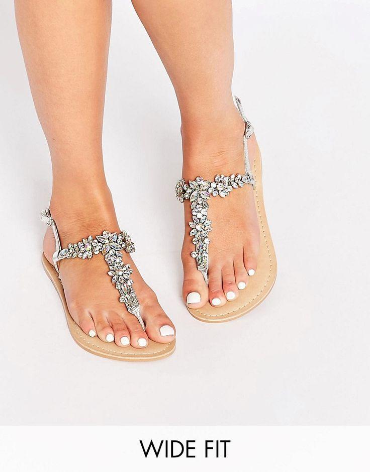 ASOS+FIJI+Wide+Fit+Embellished+Leather+Flat+Sandals