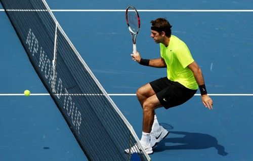 MASON, OH - AUGUST 17:  Juan Martin Del Potro of Argentina watches the ball over the net against Jeremy Chardy of France during day seven of the Western & Southern Open at Lindner Family Tennis Center on August 17, 2012 in Mason, Ohio.  (Photo by Nick Laham/Getty Images)