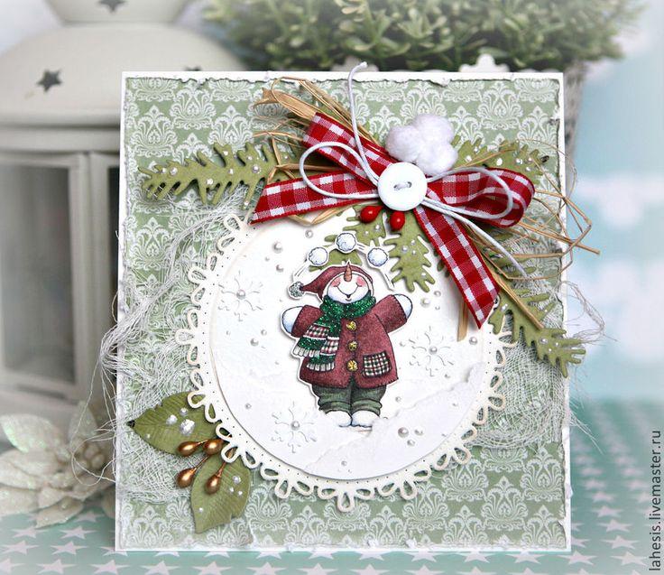 Купить Новогодние открытки - Открытка ручной работы, открытка, новогодний подарок, Новый Год