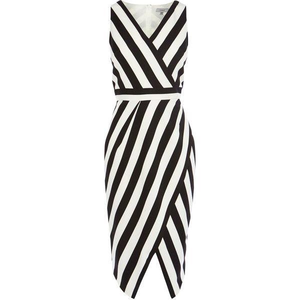 ISHANI STRIPE SHIFT DRESS ($135) ❤ liked on Polyvore featuring dresses, deep v neckline dress, fitted wrap dress, striped shift dress, fitted dresses and low v neck dress