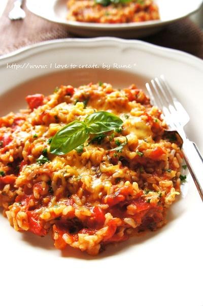 ローマトマトバジルソースde玄米リゾット