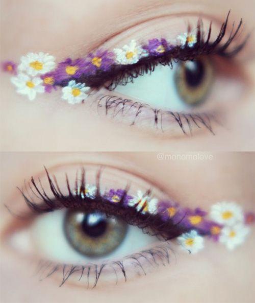 Cute Flower Eye Makeup Idea