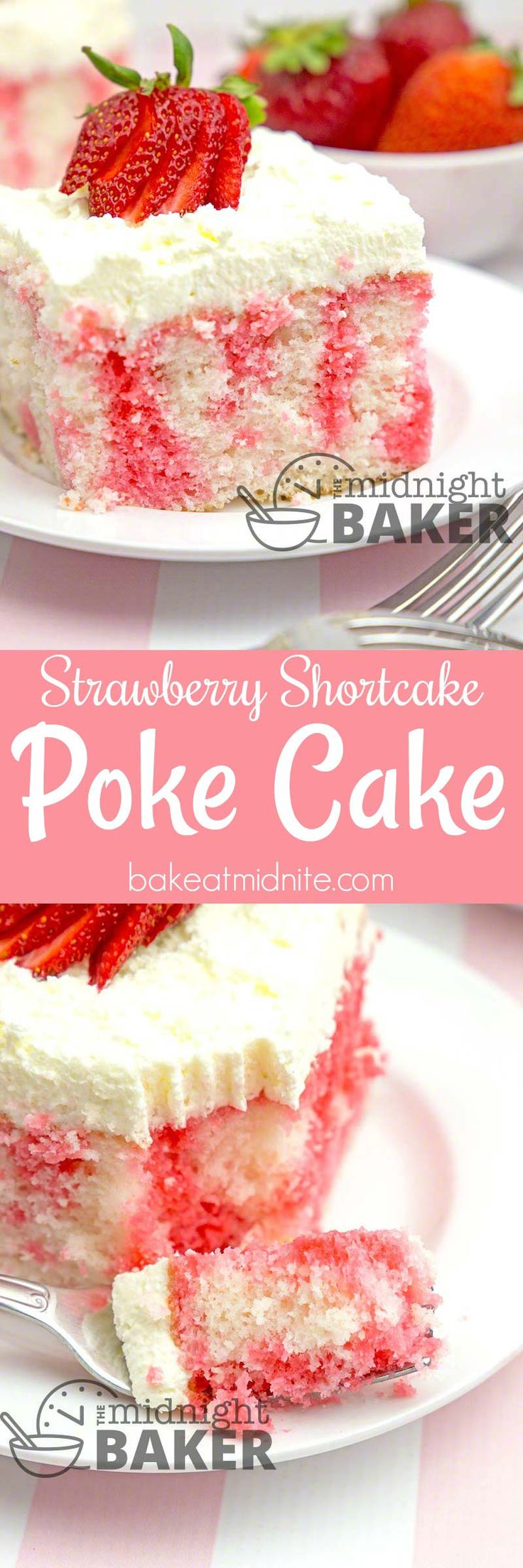 Here's the delicious flavor of strawberry shortcake in an easy-to-make poke cake.