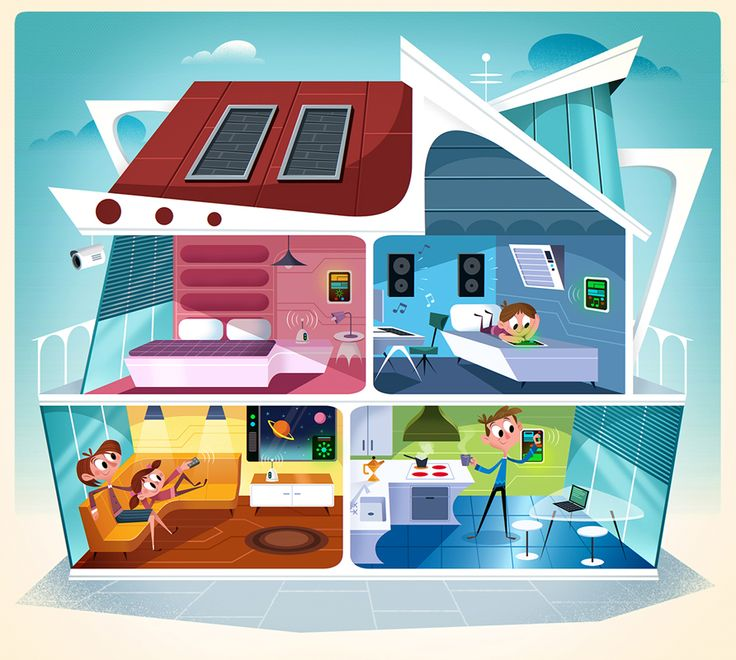 #richwake #newdivision #illustration #cartoon #flatgraphic #character #house #home #technology #family