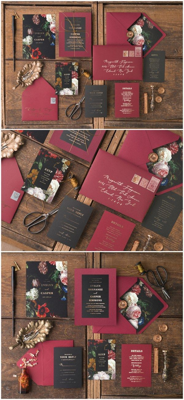 Vintage Burgund und Schwarz Glitter Hochzeitseinladungen 01Gvinz #Weddings #weddin