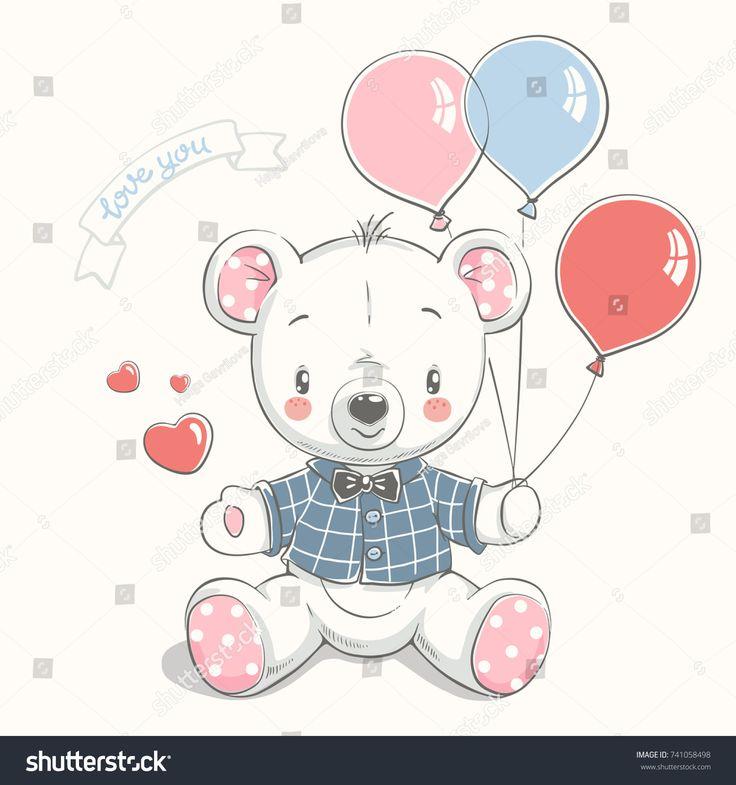 Netter Bär mit gezeichneter Vektorillustration der Ballonkarikatur Hand. Kann verwendet werden für …