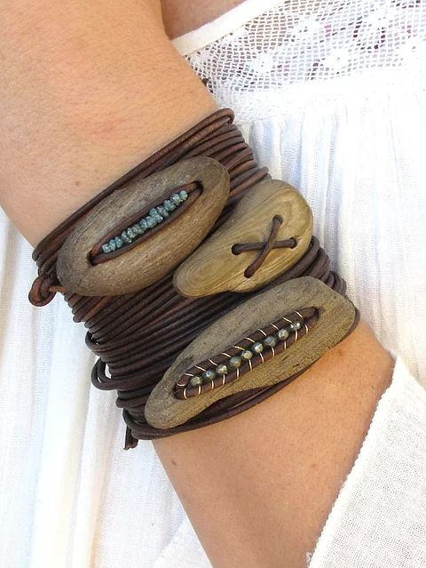 Incredibly Natural earthy-modern jewelry featuring driftwood, semi-precious stones and leat…
