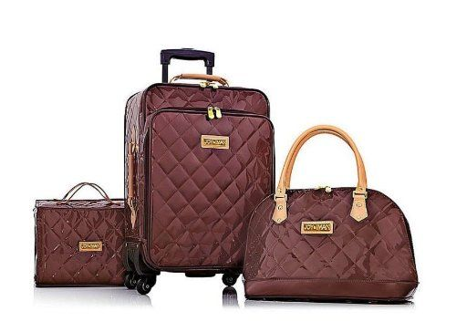 Joy & IMAN 4-piece Iconic Quilted Patent Luggage Set with Handbag - CHOCOLATE DIAMOND Joy Mangano & Iman http://www.amazon.com/dp/B00IYU7OIY/ref=cm_sw_r_pi_dp_84vzvb0FS5SPS