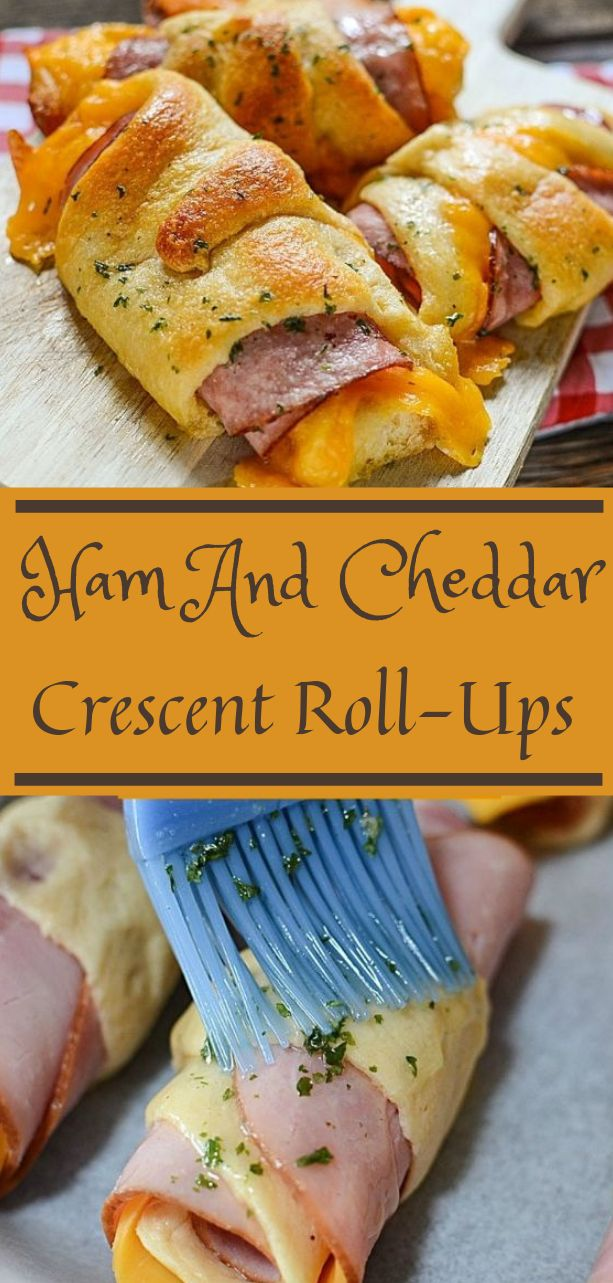 Ham And Cheddar Crescent Roll-Ups #food #recipe