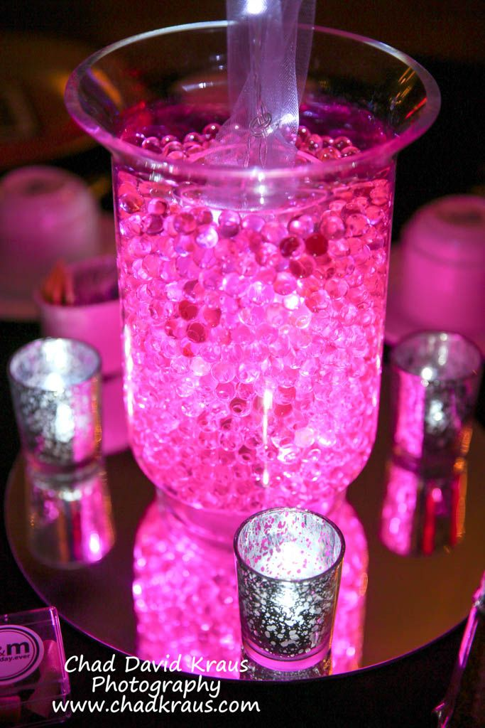 Aqua gems centerpiece pink sparkle balloon