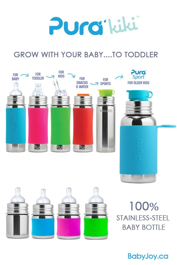 Pura Kiki 'New Design' Stainless Steel Baby Bottles. #PuraKiki #babybottle is design to grow with your baby.