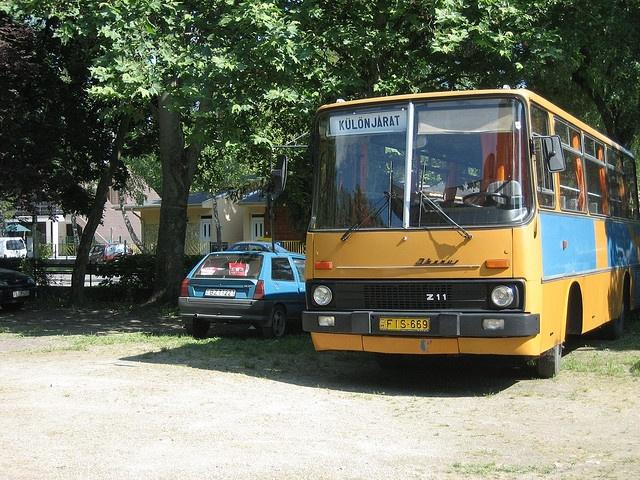 East European bus seen in Siófok; probably original finish and colour     Siófok,