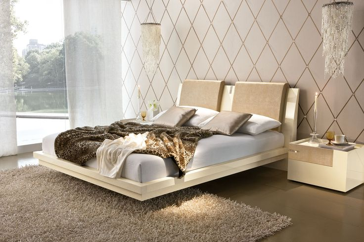 Luxurious bed set - night stands and bed feature faux crocodile leather and genuine Swarovski elements