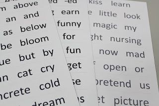 DIY large print word lists for magnetic poetry