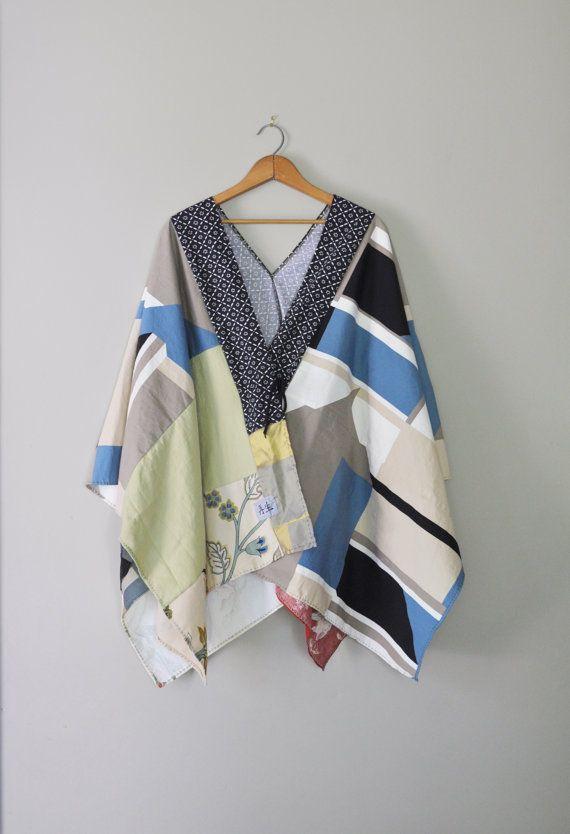 Kimono Wearable Art Wrap/Upcycled Kimono Kanji Wrap/Handmade Eco Womens Clothing