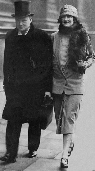 Secretive: Despite being avid letter writers, very little correspondence survived between Churchill, pictured with his wife, and Violet