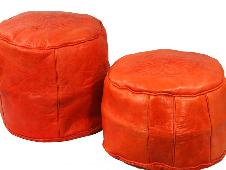 Orange leather seats from Morocco http://www.etnobazar.pl/shop/etnoswiat/profile/search/ca:pufy