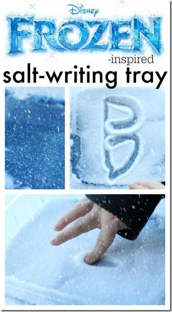 Disney Frozen activities for kids - Salt Writing tray for preschoolers to practice their letters