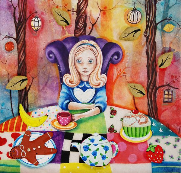 'Alice' by Kerry Darlington. A Unique edition print with resin & 3D elements, from the Alice in Wonderland collection. Available at Wyecliffe Gallery: http://wyecliffe.com/collections/kerry-darlington-art/products/alice-kerry-darlington