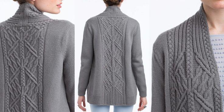 Серый жакет спицами Vogue Knitting Spring Summer 2017