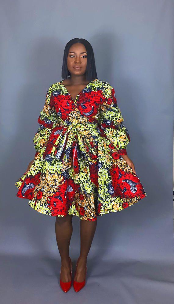 NEW IN:African wrap dress,women's clothing,dresses,red dresses, skirts,handmade clothing,wax print fabric,dashiki dress,Vlisco,java print