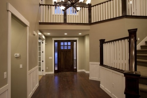dark and white banisters: Custom Homes, House Ideas, Wall Color, White Trim, Paint Colors, Candlelight Homes, Salt Lake City, Photo
