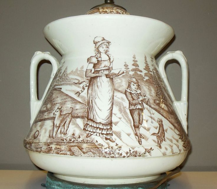 Amazing Antique Brown & White Transferware Victorian Tureen Lamp Children Dogs #AestheticMovement #Unknown