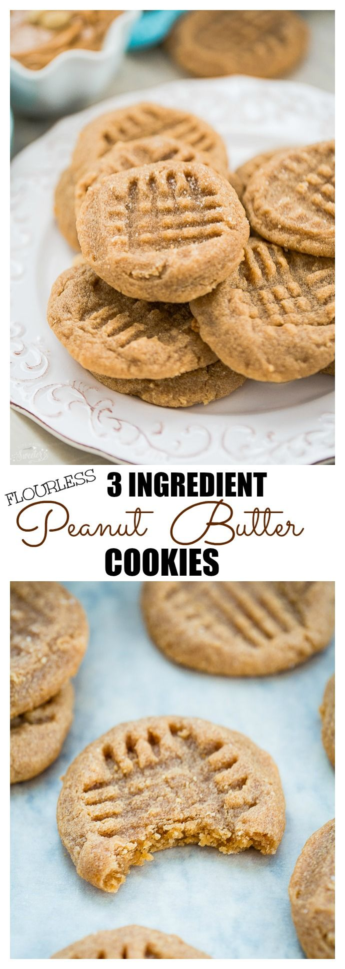 Flourless 3 Ingredient Peanut Butter Cookies are perfectly soft, chewy & super easy to make! Plus they're naturally gluten free, VEGAN & contain NO butter or OIL! Goes best with a nice cold glass of milk. Can sub with almond butter too - SO good!!