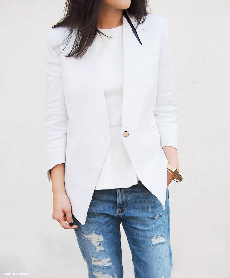 love this jacket...: Distressed Jeans, Ripped Jeans, White Blazers, Helmut Lang, Black Nails, Classic White, Distressed Denim, Boyfriends Jeans, White Jeans