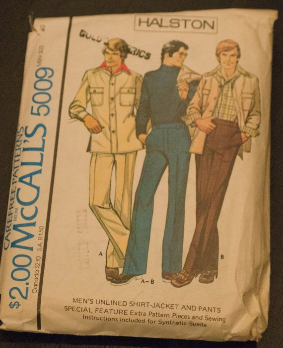 McCall's Men's Unlined Shirt-Jacket and Pants by PeachCityVintage